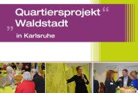 """Menschen im Gespräch, überschrieben mit """"Quartiersprojekt Waldstadt""""; Quelle: Badischer Landesverein für Innere Mission"""